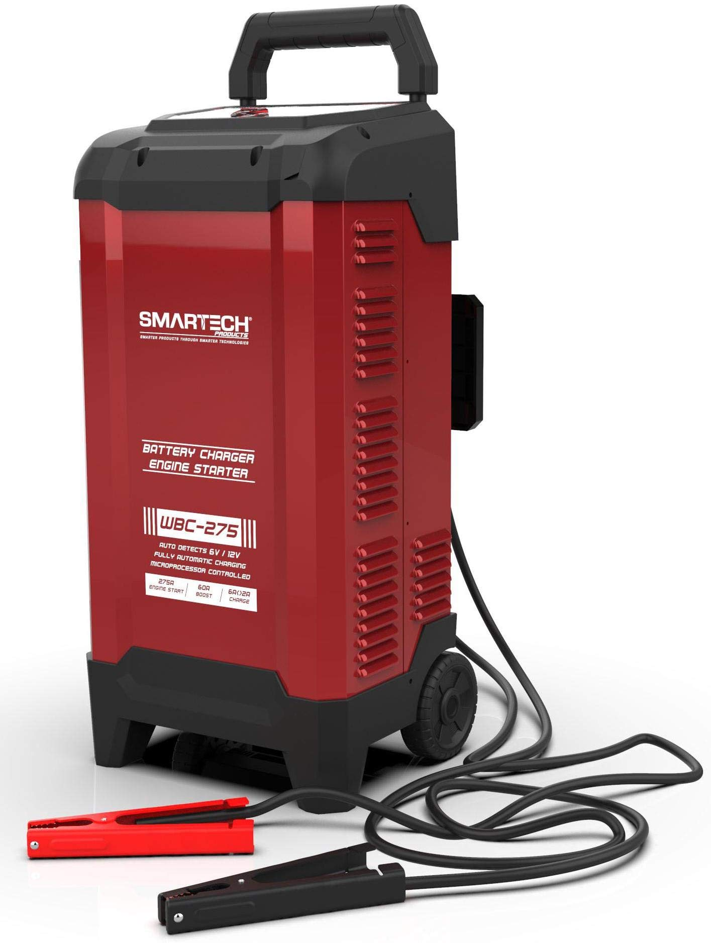 Smartech WBC-275 6V/12V Wheel Automotive Battery Charger | 275A Engine Start | 60A Boost | 6A<>2A Charge | Digital Display - Built in Microprocessor for Safe Charging