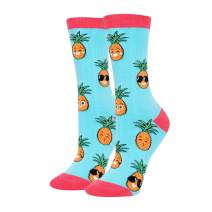 HAPPYPOP Pineapple Pickled Big Dill Avocado Banana Socks, Novelty Fruits Gift for Women Girls