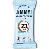 Jimmy! White Coconut Shred Protein Bars, 23g Protein, Low Sugar, 12 Count
