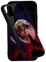 iPhone 11 Case Pricetail Anti-Drop TPU Bumper Slim Light Weight and Hard PC Scratch-Proof Tempered Glass Protector Cover Fit iPhone 11 Cases for Girls Boys Wolf and Moon