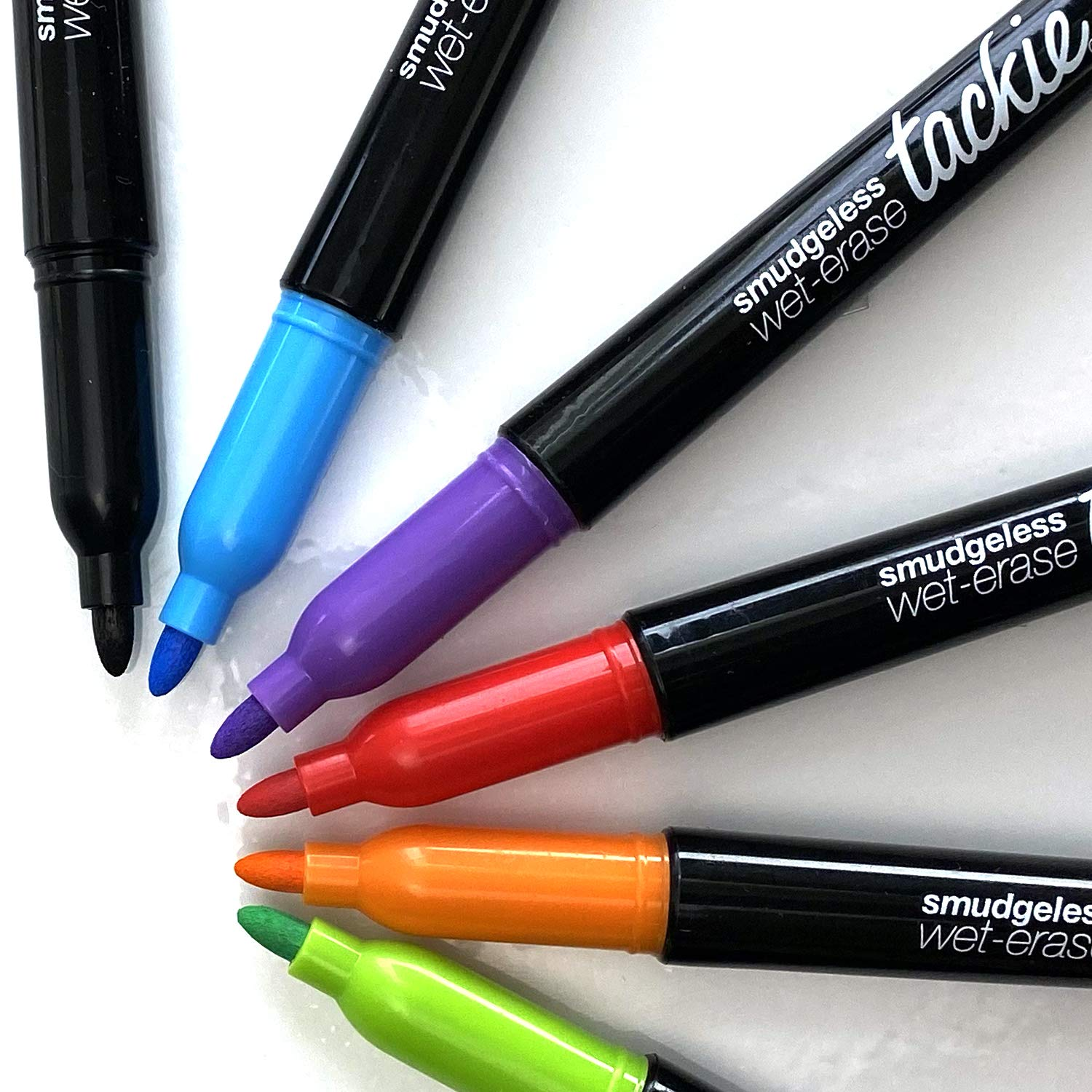 Tackie Markers : Smudge-Free Markers for Dry-Erase Whiteboards. Erases with water! Bullet-Tip Wet-Erase Low Odor Pens. Neon Colors: Red, Teal, Purple, Orange, Green, Black 6-Pack