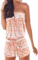 Sumtory Women's Strapless Printed Short Rompers Beachwear One Piece Jumpsuit