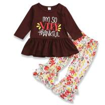 Thanksgiving Outfits Kids Toddler Baby Girls Maple Leaf Dress Shirt+Bell-Bottomed Pants Sets Fall Clothes