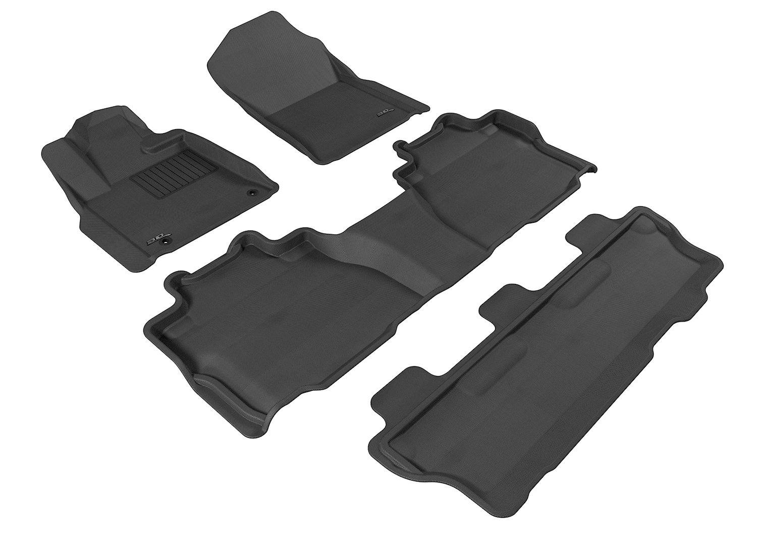 3D MAXpider Complete Set Custom Fit All-Weather Floor Mat for Select Toyota Sequoia Models - Kagu Rubber (Black)