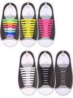 6 Pairs No Tie Shoelaces Silicone Elastic Athletic Sport Shoe Lace (Multi-color, Black, White, Brown, Yellow, Pink)