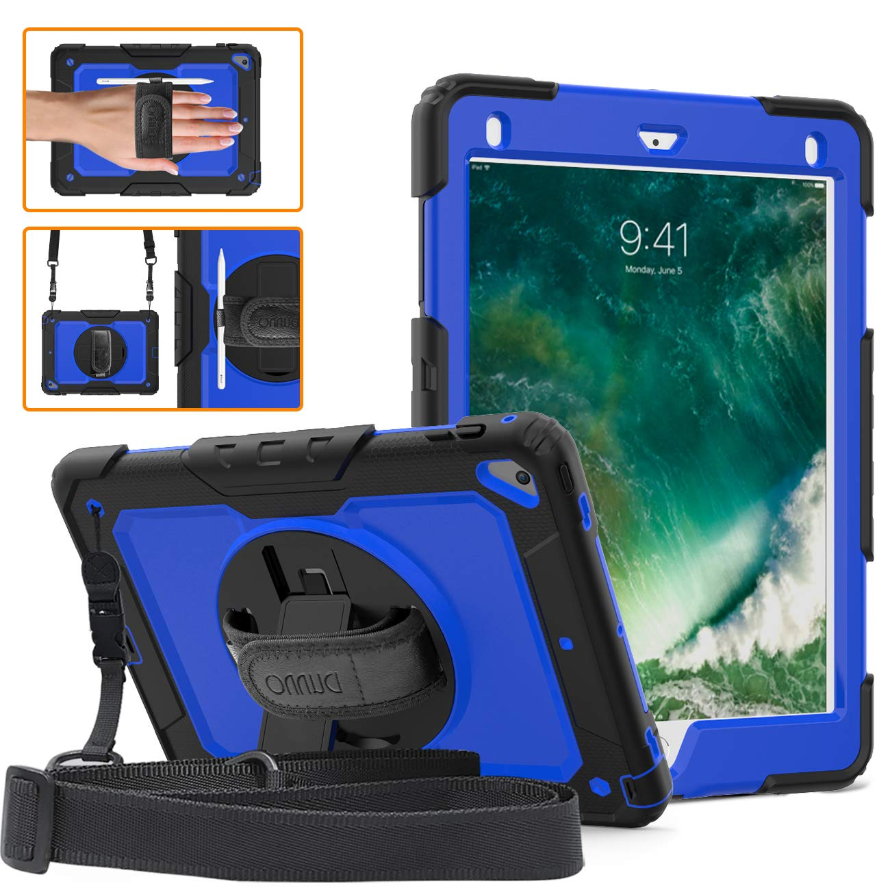 DUNNO iPad 9.7 2017/2018 case - Heavy Duty Protective Case with 360° Rotating Kickstand & Built-in Screen Protector Shockproof Design for Apple iPad 9.7 inch 2017/2018 (5th/6th Gen) Black/Blue