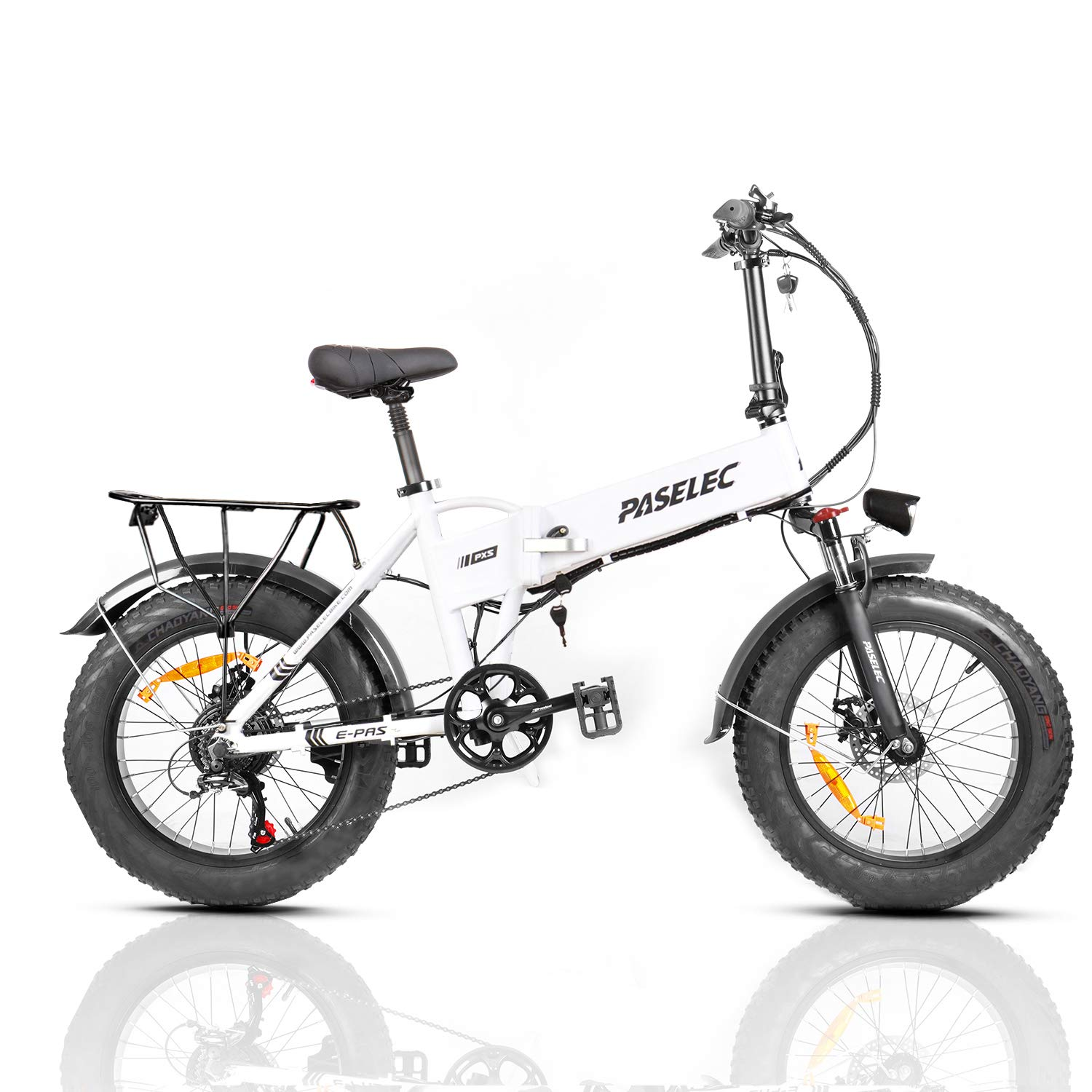 PASELEC Electric Bikes for Adults Folding Electric Bicycle, Mountain Ebike with 500w Motor, 4.0 Fat Tire Ebike, 10.4Ah Removable Battery, Shock Absorption, 7-Speed Gears, Dule Disc Brakes Cycle