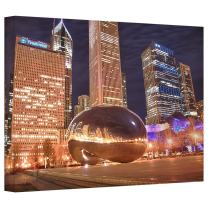 ArtWall 'Chicago-The Bean I' Gallery Wrapped Canvas Art by Dan Wilson, 24 by 36-Inch
