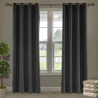 """Frelement 52"""" W x 63"""" L Indoor Linen Curtains Thermal Insulated Drapes Grommet Privacy Panels for Bedroom, Living Room, Black, 1 Panel"""
