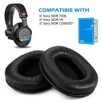 AGPTEK Replacement Earpads for Sony MDR 7506/Sony MDR V6/Sony MDR CD900ST, with Memory Foam Ear Pads, Soft and Comfortable, 1 Pair (2 Pieces) - Black