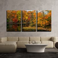 """wall26 - 3 Piece Canvas Wall Art - Colorful Autumn Reflections on This Pond in Allaire State Park in New Jersey. - Modern Home Decor Stretched and Framed Ready to Hang - 24""""x36""""x3 Panels"""
