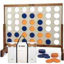 Giant 4 in A Row, 4 to Score Game- Premium Wooden Four Connect Game Set in 3 size and 2 color options by Rally & Roar - Oversized Family Outdoor Party Games for Backyard, Lawn, Parties, Bar Game