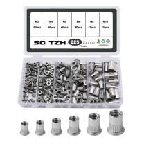 SG TZH 225Pcs Stainless Steel Rivet Set M3 M4 M5 M6 M8 M10 Flat Head Rivnut Assortment Threaded Insert Nuts Kit
