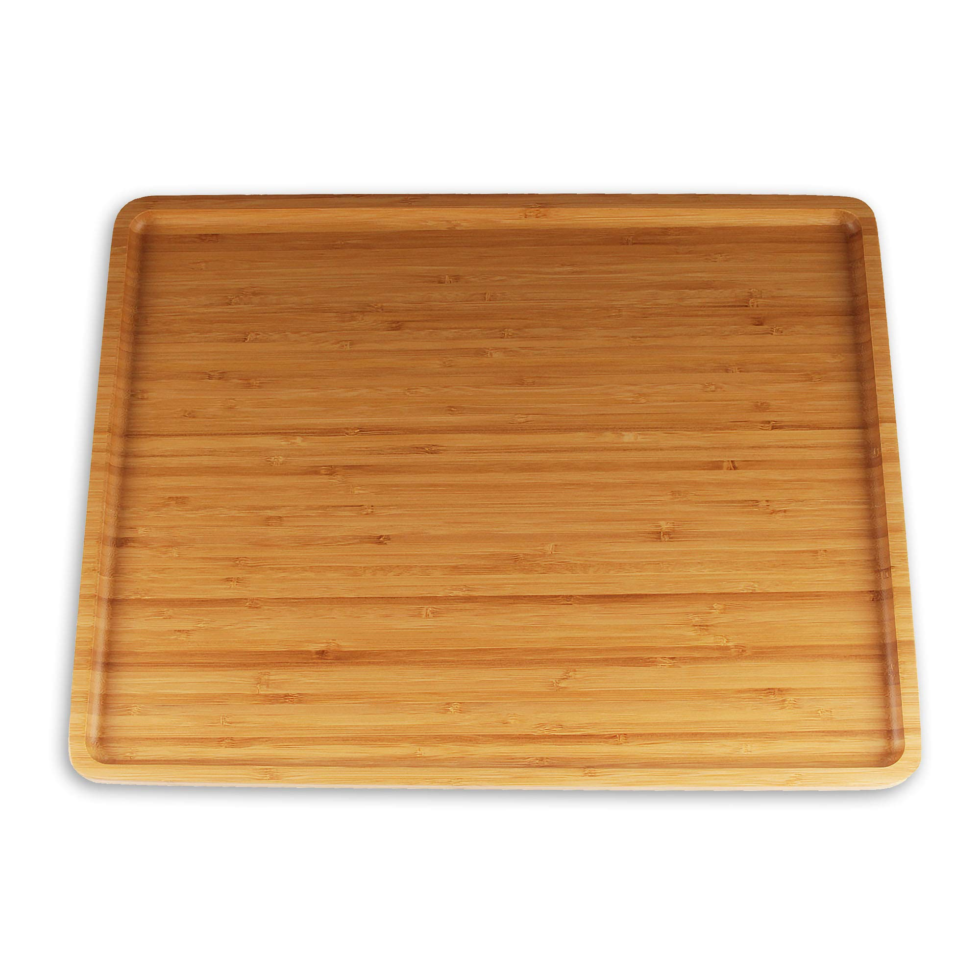 """Organic Bamboo Serving Tray - 17""""x13""""x0.75"""" - Rounded Edges- 10 Pieces"""