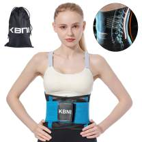 Lumbar Support Belt Lower Back Brace Waist Trainer for Women Men, KBNI Unisex Adjustable Comfortable Slimming Body Shaper Pain Relief Posture Corrector for Adult and Teenagers, Blue, M
