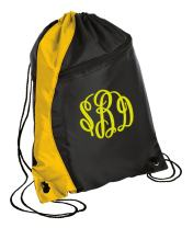 Personalized Monogrammed Drawstring Backpack with Custom Text   Cinch Bag with Customizable Embroidered Monogram Design (Gold/Black)