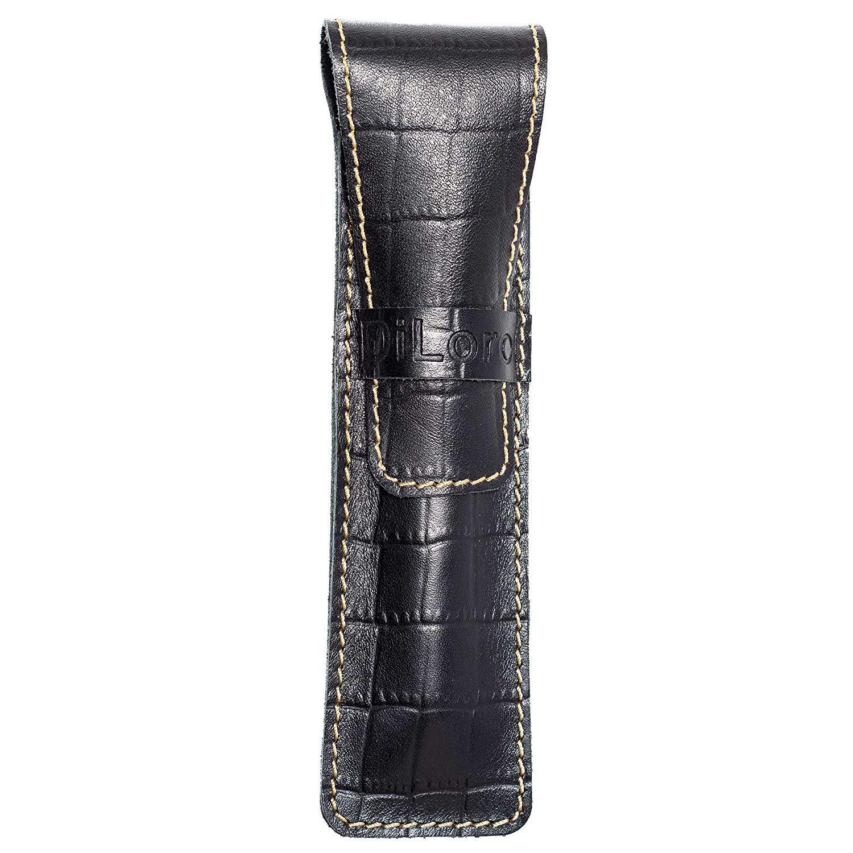 DiLoro Single Pen Case Holder Sleeve Thick Buffalo Full Grain Leather (Buffalo Black Croc Print)