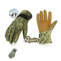 Vgo... 2Pairs -4℉ or Above 3M Thinsulate G80 Lined Winter Gloves Designed for Skiing,Outdoor,Shredding,Shoveling&Snowballs,Waterproof, Windproof(Cadet Blue and Camo Color,SL2269)