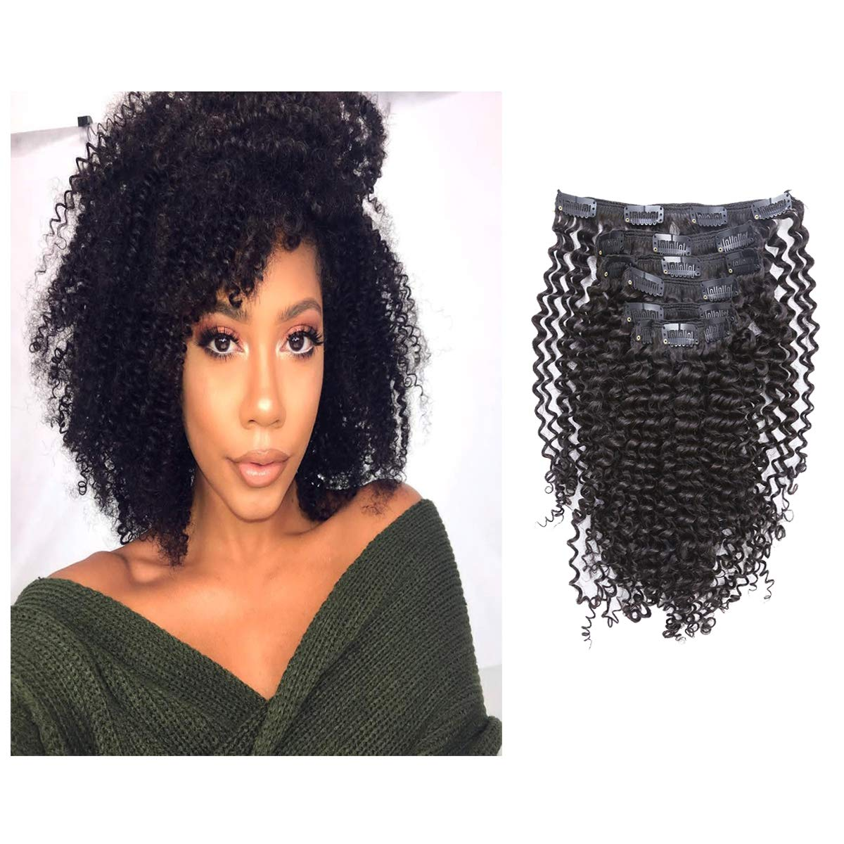 Loxxy Kinky Curly Clip in Human Hair Extensions 3B 3C Kinky Clip Ins Nutural Black Color 8A Afro Kinkys Curly Hair Extensions Clip For Black Women In Double Wefts Real Remy Hair ,120G,10 Inch