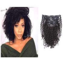 Loxxy Afro Kinky Curly Clip in Human Hair Extensions 3B 3C Kinky Clip ins For Black Women Nutural Color 8A Afro Kinkys Curly Hair Extensions Clip In Double Wefts Real Remy Balayage,120G,12 Inch
