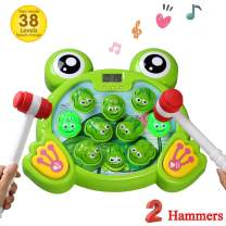 amdohai Whack A Frog Game Interactive Pounding Toy Fun Gift Idea for Age 2 3 4 5 6 7 8 Year Old Kids, Boys, Girls (2 Hammers)