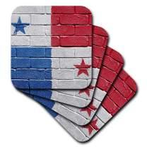 3dRose CST_156964_1 National Flag of Panama Painted onto A Brick Wall Panamanian Soft Coasters, (Set of 4)
