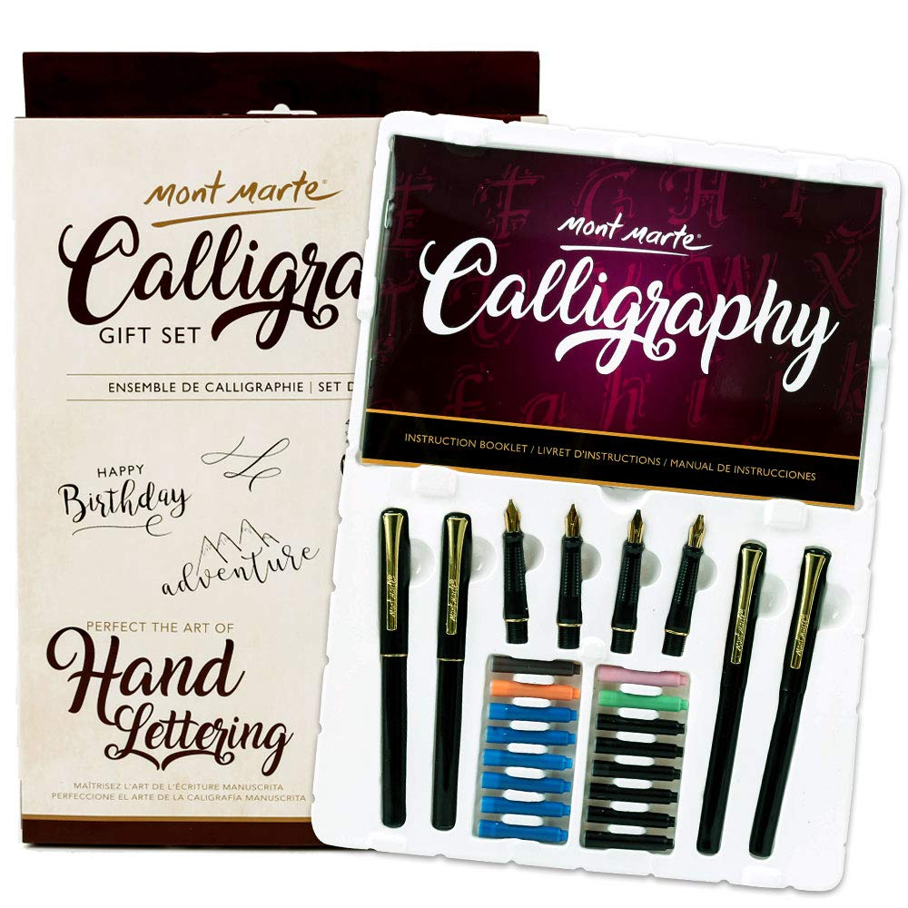 Mont Marte Calligraphy Pen Set 26 Piece. Includes Calligraphy Pens, Calligraphy Nibs, Ink Cartridges, Introduction Booklet and Exercise Booklet.