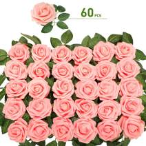 walsport Roses Artificial Flowers - 60pcs Real Looking Touch Silk Foam with Stem Leaves Home Decoration DIY for Wedding Bouquets Centerpieces Bridal Baby Shower Arrangements Party