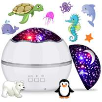360° Rotating Night Light Projector for Kids, MIANTANG 2 in 1 Starry Sky and Sea World, 8 Colors Baby Night Lights Projector, Best Gift for Children Bedroom Birthday Party Festival (White)