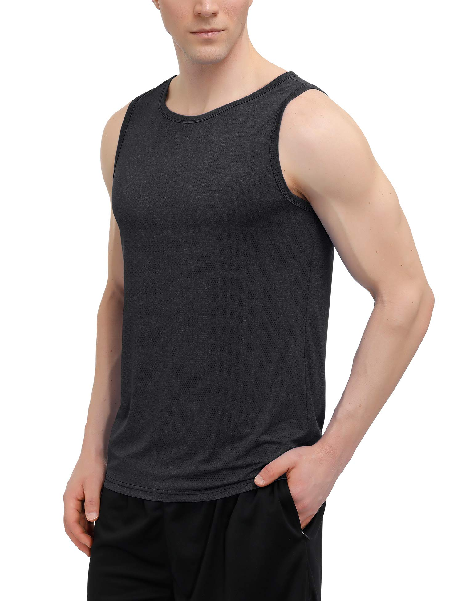poriff Men's Sport Tops Workout Training Tanks Muscle Fitness Shirts Loose Fit Quick-Dry Mesh Vest