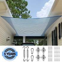 Quictent 12x16FT 185G HDPE Stripe Color Rectangle Sun Shade Sail Canopy 98% UV Block Outdoor Patio Garden with Free Hardware Kit (White and Blue)