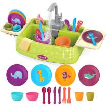 Toddler Learning Play Sink Toys age 2-4 age 3-5 Kids Toys for Boy Girls 3 4 5 6 Year Old Play Kitchen Dishwasher with Automatic Water Cycle System, Unique Pretend Cleaning Set Gifts for Preschool