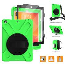 "BRAECNstock New iPad 10.2 Case 2019[Built-in Screen Protector] Heavy Duty Shockproof with 360 Degree Kickstand/Hand Strap Rugged Case for iPad 7th Generation 2019 10.2""-Green"
