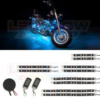 LEDGlow 10pc Advanced Ice Blue LED Motorcycle Accent Neon Underglow Lighting Kit - 4 Patterns - 4 Brightness Levels - Flexible Light Strips - Includes Waterproof Control Box & 2 Wireless Remotes
