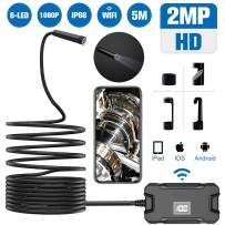 SEKKVY Wireless Endoscope Camera,WiFi Borescope IP68 Waterproof Inspection Camera,5 M 1080P HD 2.0 MP Snake Camera for Android,iPhone,iOS Smartphone, iPad & Tablet