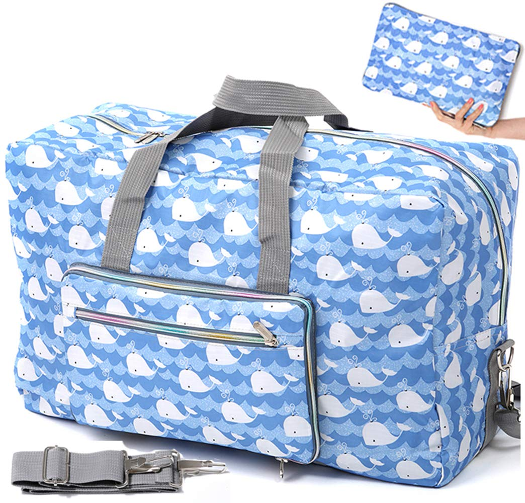 Foldable Travel Duffle Bag for Women Girls Large Cute Floral Weekender Overnight Carry On Bag for Kids Checked Luggage Bag (Z-Blue Whale)