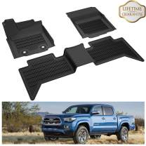 KIWI MASTER Floor Mats Compatible for 2016-2017 Toyota Tacoma Double Cab Crew Cab All Weather Protector Mat Liners Front Rear 2 Row Seat TPE Slush Liner Black