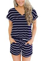 ANRABESS Women's Summer Casual Loose Jumpsuit V Neck Short Sleeve Elastic Waist Rompers Jumpsuit with Pockets