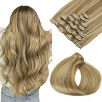 Human Extensions Clip in Hair Extensions 120g Ombre Light Highlighted Goden Blonde Remy Human Hair Extensionss Clip on Straight Thick Real Hair Extensions Natural Clip in Extensions 24Inch 7pcs