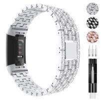 Tensea Jewelry Band Compatible with Fitbit Charge 3 and Charge 4 Band for Women, Bling Diamond Rhinestone Bracelet Metal Strap Replacement for Fitbit Charge 3/4 (Silver)