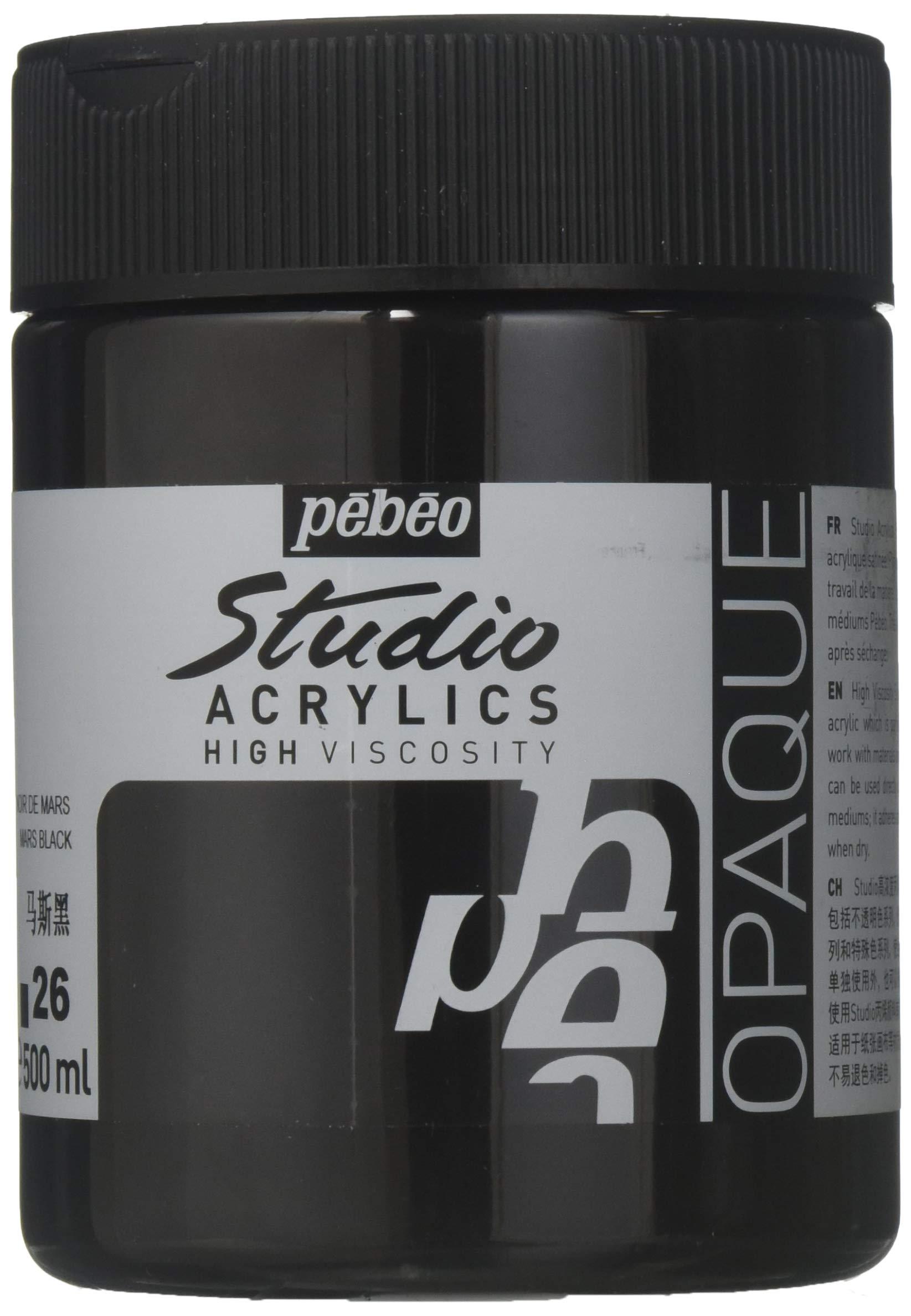 PEBEO Studio 500ml Acrylic Paint, Mars Black, 500 ml Jars, 17 Fl Oz