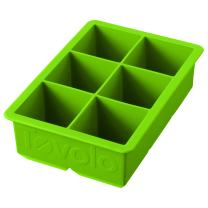 "Tovolo Inch Large King Craft Ice Mold Freezer Tray of 2"" Cubes for Whiskey, Bourbon, Spirits & Liquor Drinks, BPA-Free Silicone, Set of 1, Spring Green"