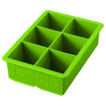 """Tovolo Inch Large King Craft Ice Mold Freezer Tray of 2"""" Cubes for Whiskey, Bourbon, Spirits & Liquor Drinks, BPA-Free Silicone, Set of 1, Spring Green"""