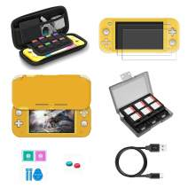 Switch Lite Accessories, VOKOO Nintendo Switch Lite case, Protective Cover Case, Switch Lite Screen Protector, SD Card Case and USB C Cable Compatible with Nintendo Switch Lite, 7-in-1 (Yellow)