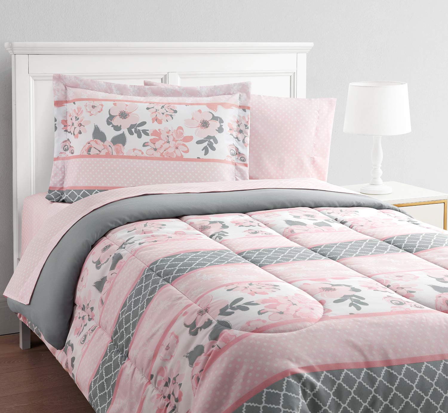 Alexa and Bella Carley 11-Piece Bed in a Bag With Extra Sheet Set Featuring a Stripe Pattern, and Brushed Fabric For Added Softness, Pink, Full
