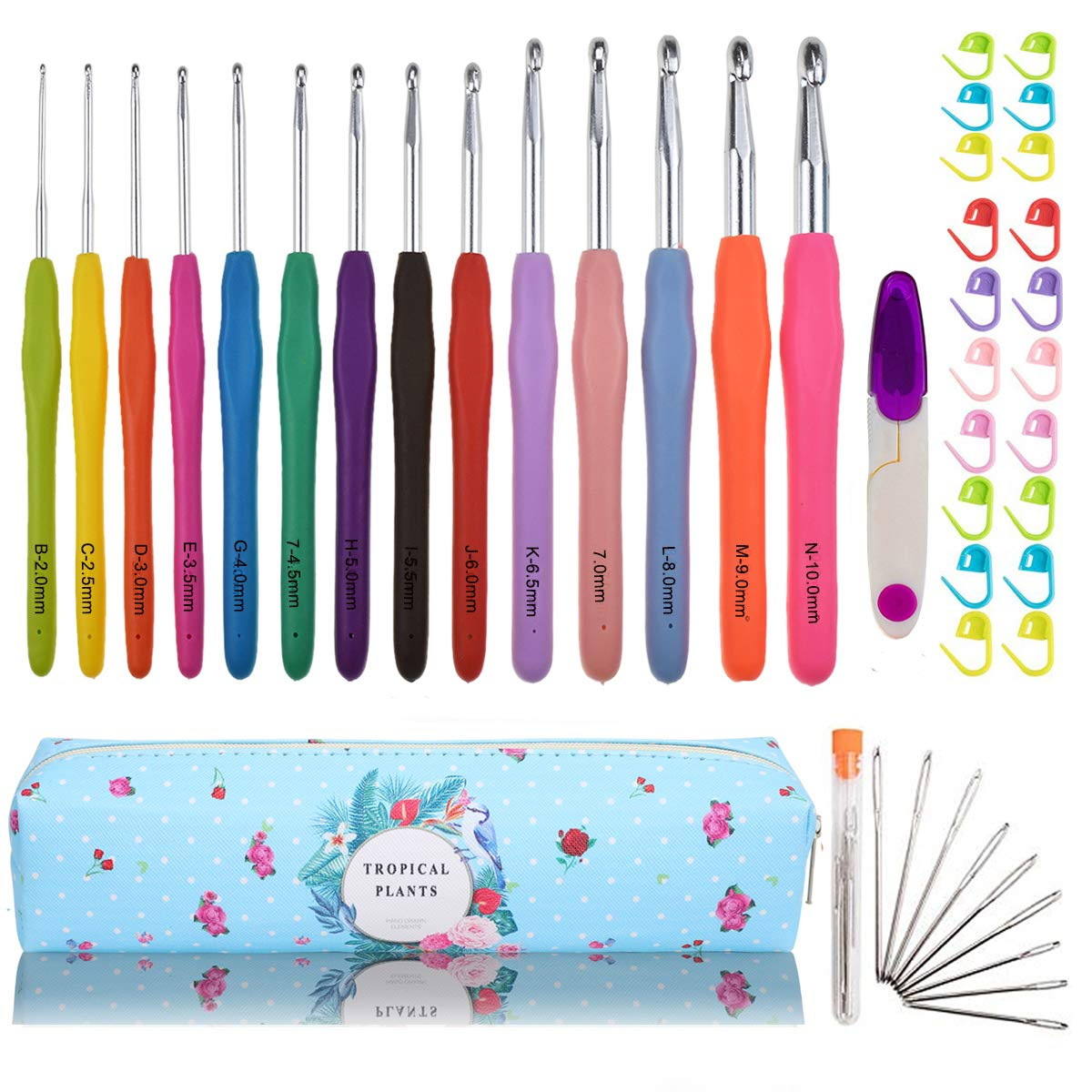 Looen Extra Long Ergonomic Crochet Hook Set with Case Rubber Soft-Touch Handle Grip Knitting Needles Hooks for Arthritic Hands-Good for Crocheting Project (Set 1 of 14)