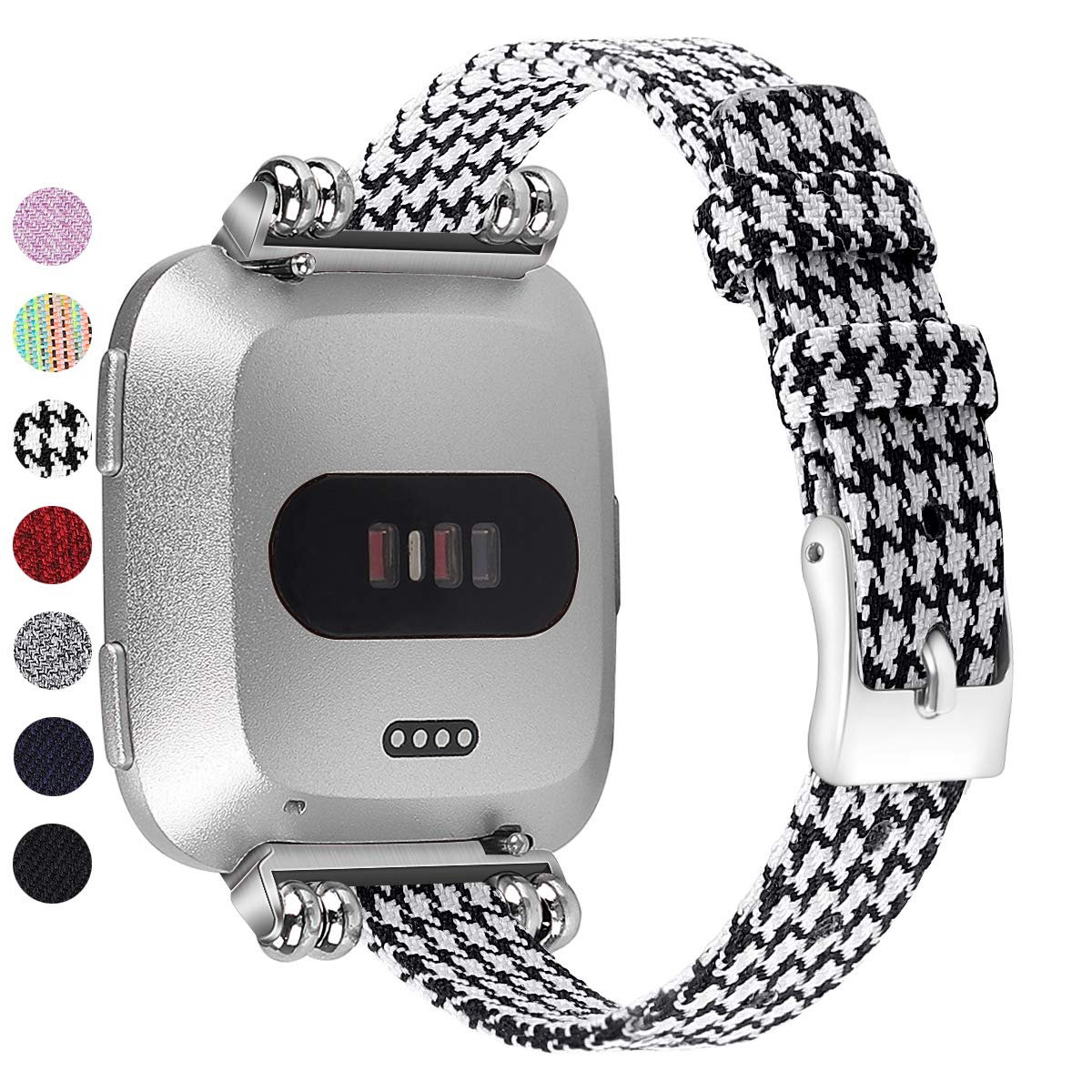 MEFEO Compatible with Fitbit Versa Bands, Woven Fabric Slim Band Narrow Stylish Wristband Replacement Strap for Fitbit Versa/Versa 2/Versa Lite Edition Women