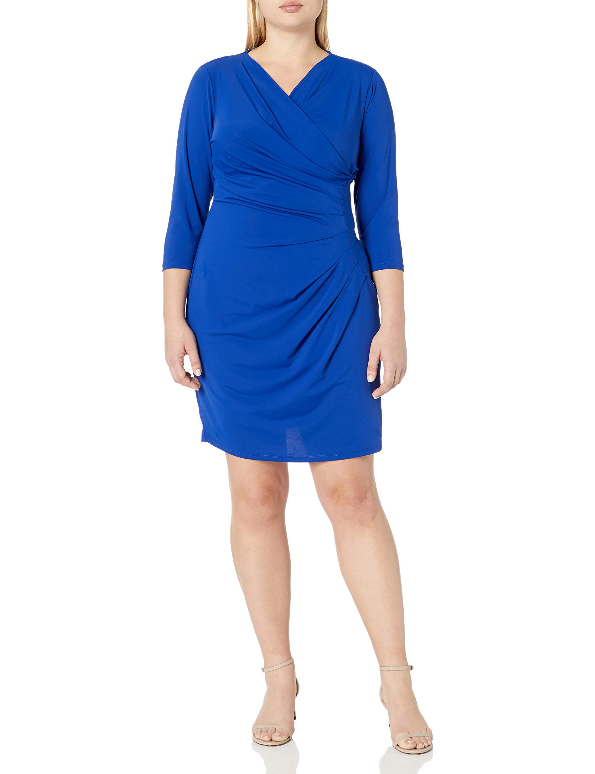 Adrianna Papell Women's Plus-Size V-Neck Three-Quarter Sleeve Faux-Wrap Dress