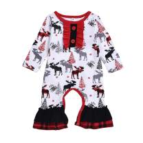 Baby Girls Christmas Outfits Infant Sister Matching Ruffle Deer Long Sleeve Romper Dress Plaid Jumpsuit Onesie Clothes
