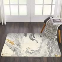 HAOCOO Bathroom Rugs 2'x 3' White Marble Faux Wool Bath Mat Non-Slip Door Carpet Soft Luxury Microfiber Machine-Washable Floor Rug for Doormats Tub Shower (2'x 3', Beige Marble)